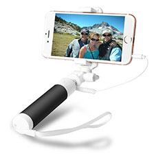 Perche de Selfie Filaire Baton de Selfie Cable Extensible de Poche Universel S09 Noir