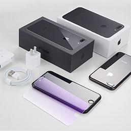 Film Protecteur d'Ecran Verre Trempe Anti-Lumiere Bleue B01 pour Apple iPhone 8 Plus Bleu