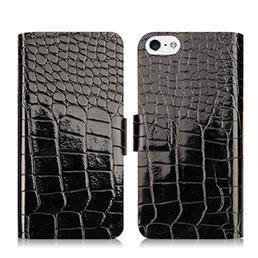 Housse Portefeuille Cuir Crocodile pour Apple iPhone 5 Noir
