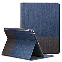 Housse Portefeuille Livre Cuir L03 pour Apple iPad 4 Bleu