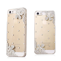Coque Luxe Strass Diamant Bling Fleurs pour Apple iPhone 5S Blanc