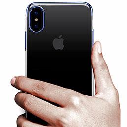 Coque Contour Silicone et Vitre Transparente Mat pour Apple iPhone X Bleu