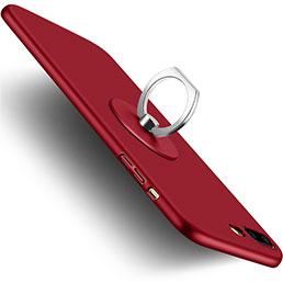 Coque Plastique Rigide Mat et Support Bague Anneau pour Apple iPhone 7 Plus Rouge