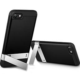 Coque Silicone Gel Souple Couleur Unie avec Support pour Apple iPhone 8 Noir
