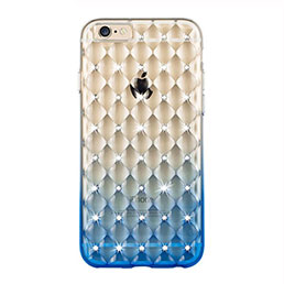 Etui Luxe Strass Bling Diamant Transparente Degrade pour Apple iPhone 6S Plus Bleu