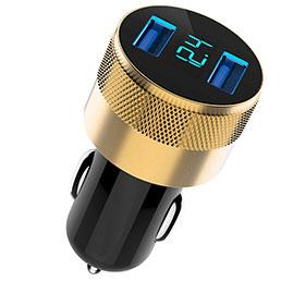 3.1A Adaptateur de Voiture Chargeur Rapide Double USB Port Universel U06 Noir