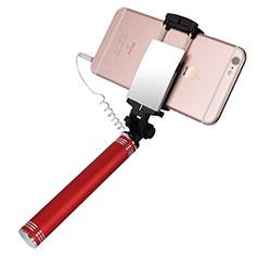 Perche de Selfie Filaire Baton de Selfie Cable Extensible de Poche Universel S20 Rouge
