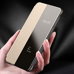 Coque Luxe Cuir Housse Etui pour Huawei P30 Or