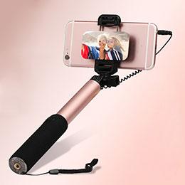Perche de Selfie Filaire Baton de Selfie Cable Extensible de Poche Universel S03 Or Rose