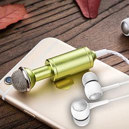 3.5mm Mini Microphone de Poche Elegant Karaoke Haut-Parleur M15 Noir