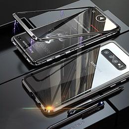 Coque Rebord Bumper Luxe Aluminum Metal Miroir Housse Etui pour Samsung Galaxy S10 Noir