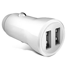 2.4A Adaptateur de Voiture Chargeur Rapide Double USB Port Universel Blanc