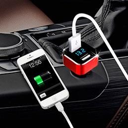 3.1A Adaptateur de Voiture Chargeur Rapide Double USB Port Universel Rouge