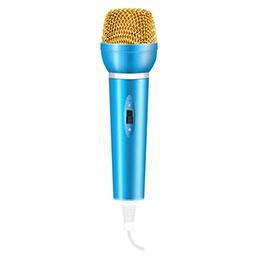 3.5mm Mini Microphone de Poche Elegant Karaoke Haut-Parleur avec Support M03 Bleu