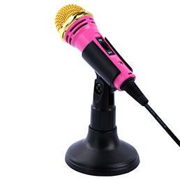3.5mm Mini Microphone de Poche Elegant Karaoke Haut-Parleur avec Support M07 Rose
