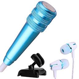 3.5mm Mini Microphone de Poche Elegant Karaoke Haut-Parleur avec Support M08 Bleu