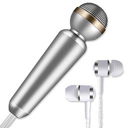 3.5mm Mini Microphone de Poche Elegant Karaoke Haut-Parleur M02 Argent