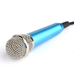 3.5mm Mini Microphone de Poche Elegant Karaoke Haut-Parleur M04 Bleu Ciel