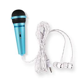 3.5mm Mini Microphone de Poche Elegant Karaoke Haut-Parleur M05 Bleu Ciel