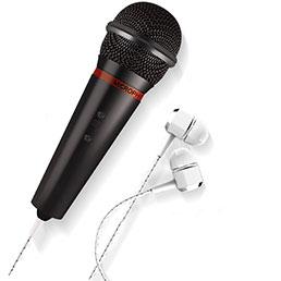 3.5mm Mini Microphone de Poche Elegant Karaoke Haut-Parleur M05 Noir