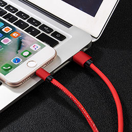 Chargeur Cable Data Synchro Cable L11 pour Apple iPhone 5C Rouge