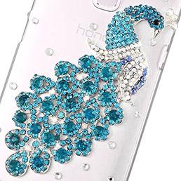 Coque Luxe Strass Diamant Bling Paon pour Huawei Honor 7 Bleu Ciel