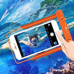 Coque Pochette Etanche Waterproof Universel W03 Orange