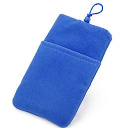 Double Pochette Housse Velour Universel Bleu
