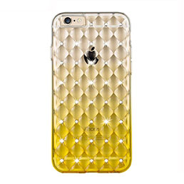 Housse Luxe Strass Bling Diamant Transparente Degrade pour Apple iPhone 6 Plus Jaune