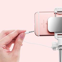 Perche de Selfie Filaire Baton de Selfie Cable Extensible de Poche Universel S05 Rose