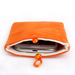 Housse Pochette Velour Tissu Universel Orange