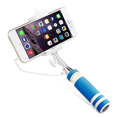 Perche de Selfie Filaire Baton de Selfie Cable Extensible de Poche Universel S01 Bleu Ciel