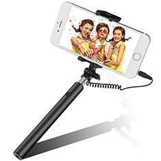 Perche de Selfie Filaire Baton de Selfie Cable Extensible de Poche Universel S06 Noir
