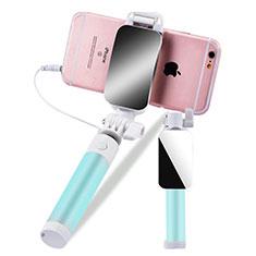 Perche de Selfie Filaire Baton de Selfie Cable Extensible de Poche Universel S12 Vert