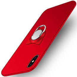 Coque Plastique Rigide Mat avec Support Bague Anneau R03 pour Apple iPhone Xs Max Rouge
