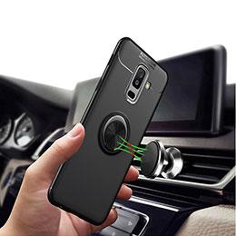 Coque Ultra Fine Silicone Souple avec Support Bague Anneau Aimante A03 pour Samsung Galaxy A9 Star Lite Noir