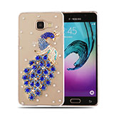 Coque Luxe Strass Diamant Bling Paon pour Samsung Galaxy A5 (2016) Bleu