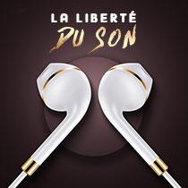 Ecouteur Casque Filaire Sport Stereo Intra-auriculaire Oreillette H33 Blanc