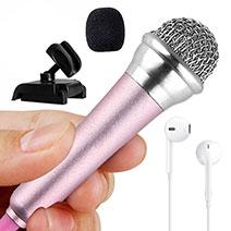 3.5mm Mini Microphone de Poche Elegant Karaoke Haut-Parleur avec Support M12 Rose