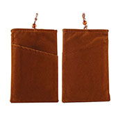 Double Pochette Housse Velour Universel Marron