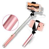 Perche de Selfie Filaire Baton de Selfie Cable Extensible de Poche Universel S22 Or Rose
