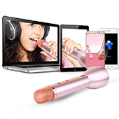 Mini Microphone de Poche Sans Fil Bluetooth Karaoke Haut-Parleur Or Rose