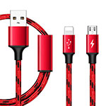Chargeur Lightning Cable Data Synchro Cable Android Micro USB ML02 Rouge