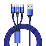 Chargeur Lightning Cable Data Synchro Cable Android Micro USB Type-C ML01 Bleu
