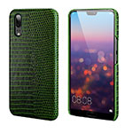 Coque Luxe Cuir Housse Etui P03 pour Huawei P20 Vert