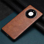 Coque Luxe Cuir Housse Etui R02 pour Huawei Mate 40 Pro Marron
