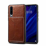 Coque Luxe Cuir Housse Etui R05 pour Huawei P30 Marron