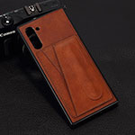 Coque Luxe Cuir Housse Etui R07 pour Samsung Galaxy Note 10 5G Marron