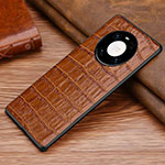 Coque Luxe Cuir Housse Etui S01 pour Huawei Mate 40 Marron