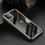 Coque Rebord Bumper Luxe Aluminum Metal Miroir 360 Degres Housse Etui Aimant T05 pour Apple iPhone 11 Or